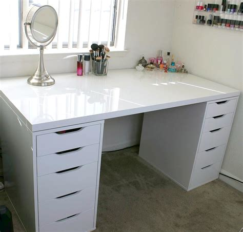 mirror dining table white makeup vanity and storage ikea linnmon alex
