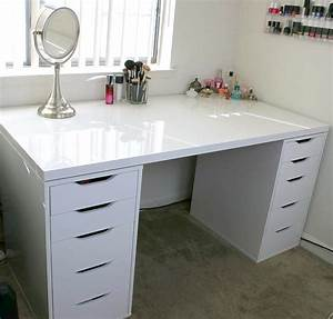 White Makeup Vanity and Storage IKEA Linnmon Alex