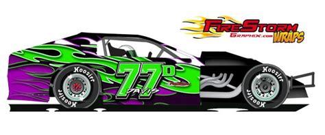 triple flames dirt modified wrap race car numbers race