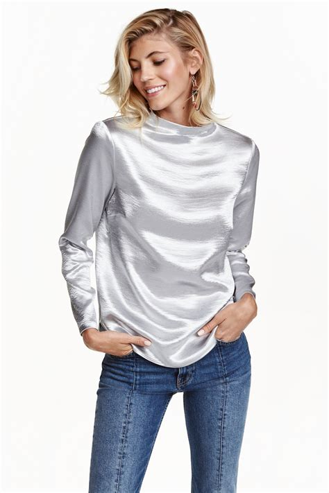 h m blouses h m metallic blouse in metallic lyst