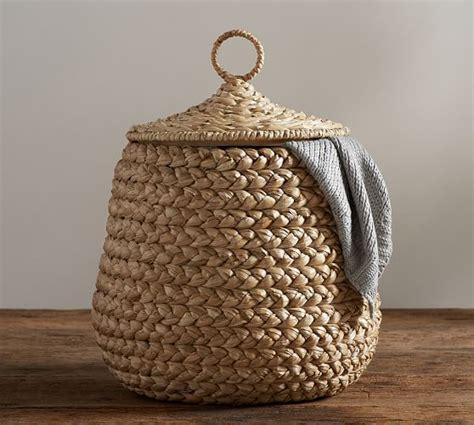 beachcomber lidded tulip basket pottery barn