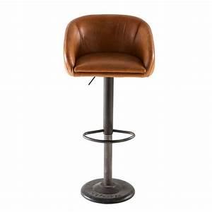 Chaise Tolix Maison Du Monde : chaise de bar indus en cuir camel gamachaise haute de bar 45x82x48cm maisons du monde ~ Melissatoandfro.com Idées de Décoration