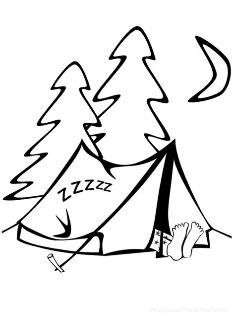 camping coloring page nuttin but preschool 673 | Camping Coloring Page