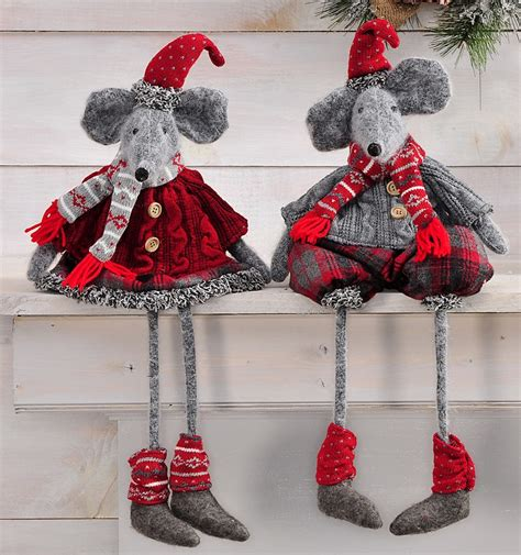 christmas shelf sitter winter mouse new pair of mice