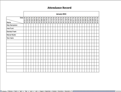 Record Template In Excel by Attendance Record Excel Templates For Every Purpose