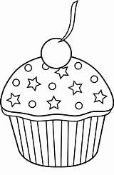Cupcake Outline Cute Coloring Pages Cake Bezoeken sketch template