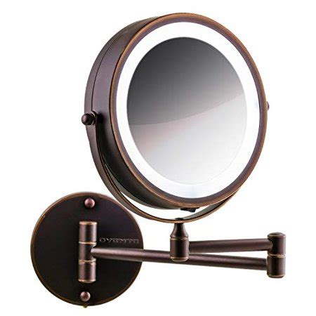 ovente wall led lighted makeup mirror battery operated 1x 7x magnification 7 inch