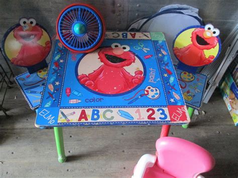 elmo table and chairs elmo kids table with 2 chairs booster chair