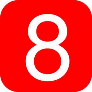 Red, Rounded, Square With Number 8 Clip Art at Clker.com ...