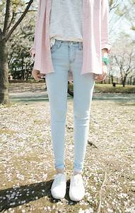 Womenu0026#39;s Pink Plaid Dress Shirt Grey Crew-neck T-shirt Mint Watch Light Blue Skinny Jeans and ...
