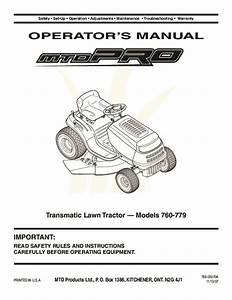 Mtd Pro 760 779 Series Transmatic Lawn Tractor Lawn Mower