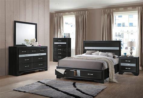 naima bedroom set pc   black  acme wstorage bed