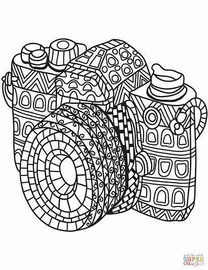 Coloring Camera Zentangle Pages Printable Adults Cool