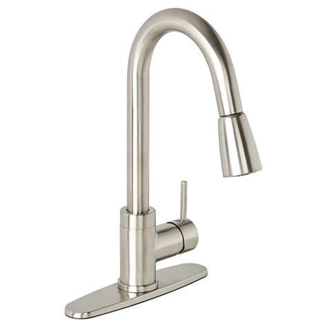 pull kitchen faucets brushed nickel essential style pull kitchen faucet urbania