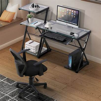 Desk Computer Glass Table Laptop Desks Workstation
