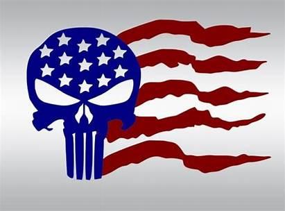 Svg Clipart Usa Flag Skull American Thin