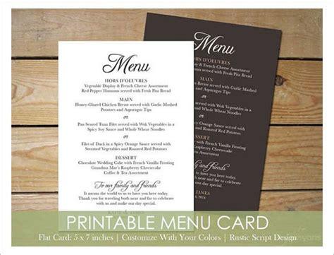 wedding menu templates sample templates