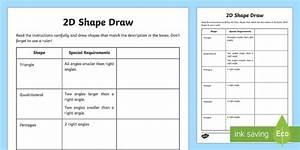2d Shape Draw Worksheet  Teacher Made