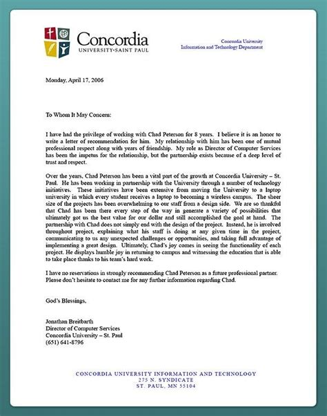 Letter Of Recommendation Template For College Admission by Recommendation Letter For Admission From