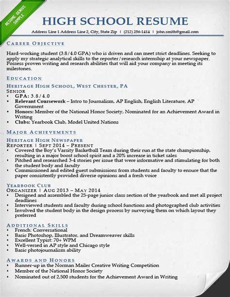 writing  resume fresh   high school  resume