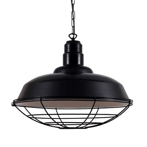 black industrial cage pendant light