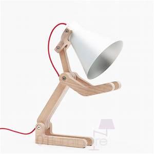 Lampe à Poser Bois : lampe poser waaf bois clair t te aluminium fil rouge structures ~ Teatrodelosmanantiales.com Idées de Décoration