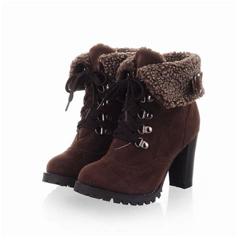 Fashion Women Ankle Boots High Heels Lace Snow