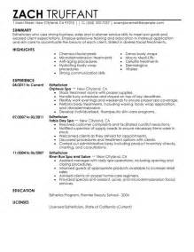 resume for licensed esthetician esthetician my resume