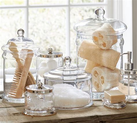 Bathroom Spa Accessories by Pb Classic Glass Canister Pottery Barn Weddings