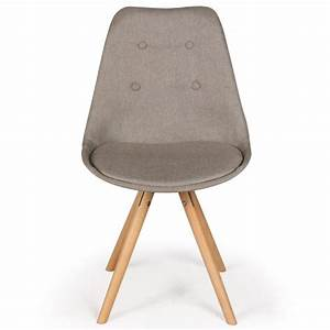 Chaise Scandinave Beige : lot de 4 chaises scandinaves karl tissu beige coin du design ~ Teatrodelosmanantiales.com Idées de Décoration