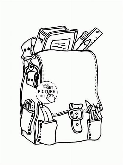Coloring Supplies Pages Backpack Printable Worksheets Printables