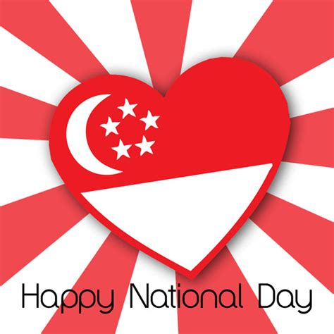 happy national day singapore heart flag picture