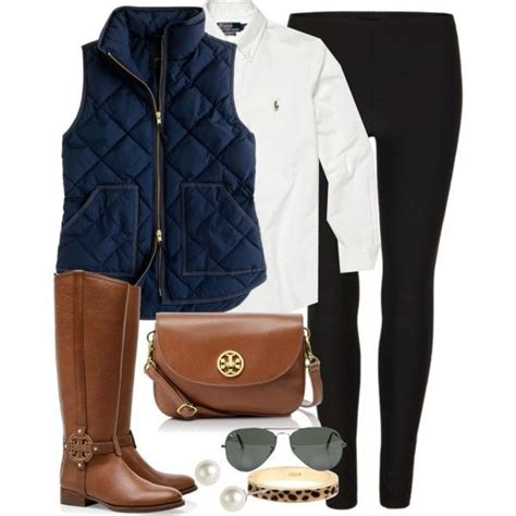 Tory Burch Riding Boots Navy Quilted Vest White Blouse