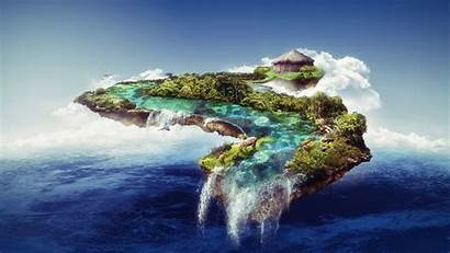Floating Island Fantasy Waterfall Wallpapers Sea Clouds