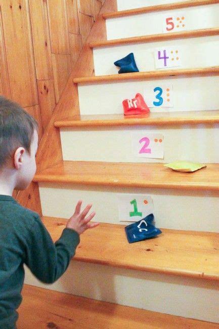 easy bean bag number toss   stairs  preschoolers