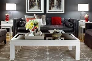 Jane lockhart gray red living room modern living room for Gray and red living room