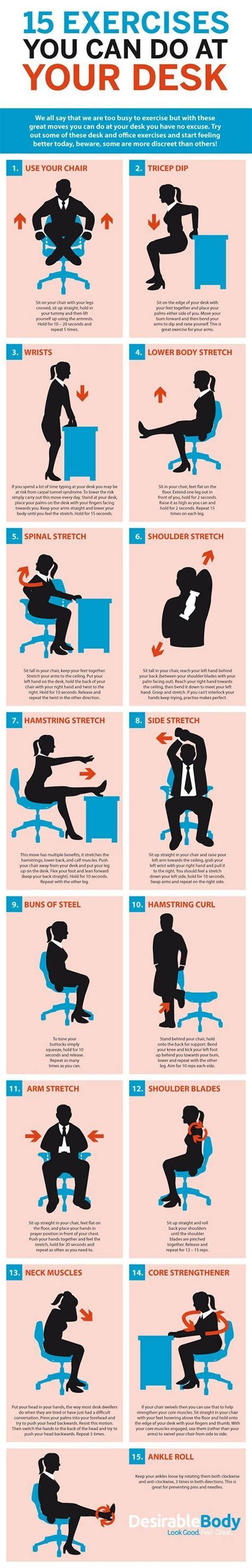 exercises to do at your desk with pictures 15 exercises you can do at your desk exercises workout