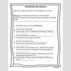 Simile And Metaphor Worksheet By Teacher Of Muggles Tpt