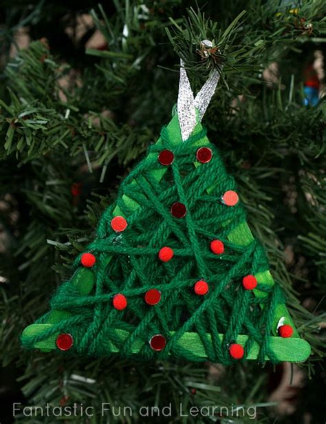 yarn wrapped tree ornaments and creative winter themed crafts for hative 7363