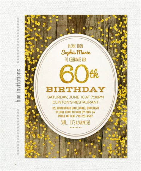 60th Birthday Invites Free Template by 60th Birthday Invitation Templates 24 Free Psd Vector