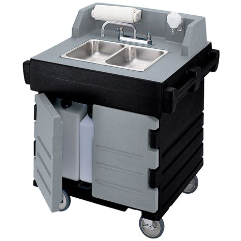 cambro granite gray and black portable sink cart self contained 110v ksc402 426