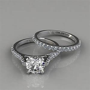 Engagement ring and wedding band bridal set puregemsjewels for Wedding ring engagement ring set