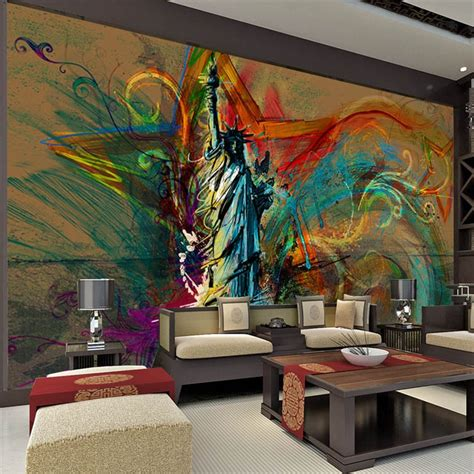 custom large wall mural statue  liberty photo wallpaper