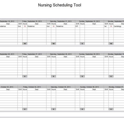 hospital nurse schedule excel template nurse schedule