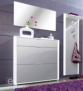 Schuhschrank Grau Weiß : neu 2tlg hochglanz garderobe flurm bel schuhschrank spiegel paneel wei grau ebay ~ Indierocktalk.com Haus und Dekorationen