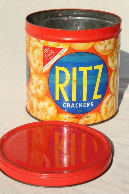 vintage ritz crackers advertising tin cracker jar