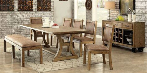rustic pine extendable rectangular dining room from furniture of america coleman