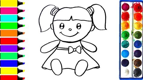 draw doll coloring book  kids  learn learn