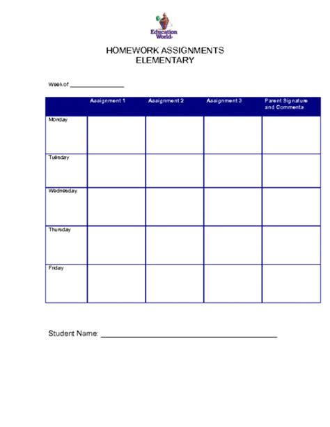 homework template 6 free homework templates excel pdf formats
