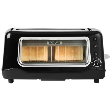 Glass Toaster by Tower T20011 2 Slice Glass Toaster Black Iwoot
